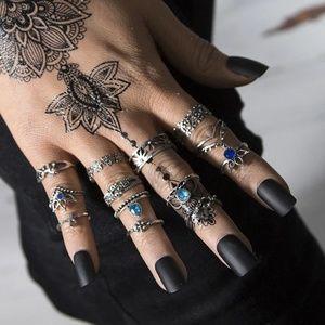 Intricate Bluestone Lotus Midi Boho Cute Rings Set